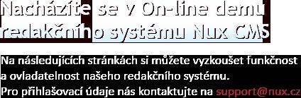 Nacházíte se v On-line demu redakčního systému Nux CMS