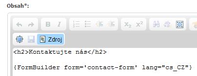 Vložení kódu formuláře